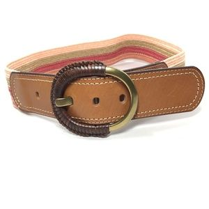 Fossil Brown Leather Striped Stretch Jeans Belt